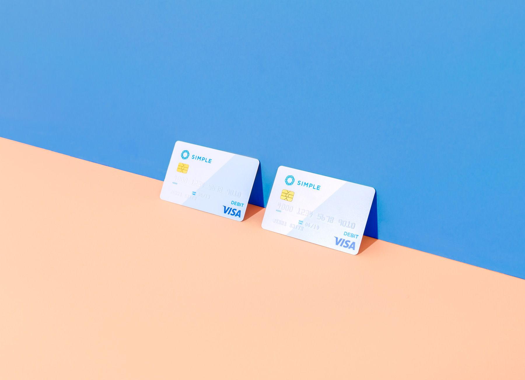 Shared debit card from Simple, which is two colors
