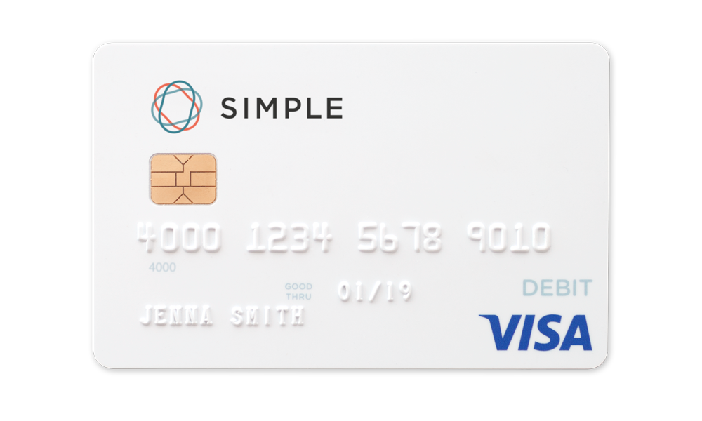 Debit card from Simple, which is all white