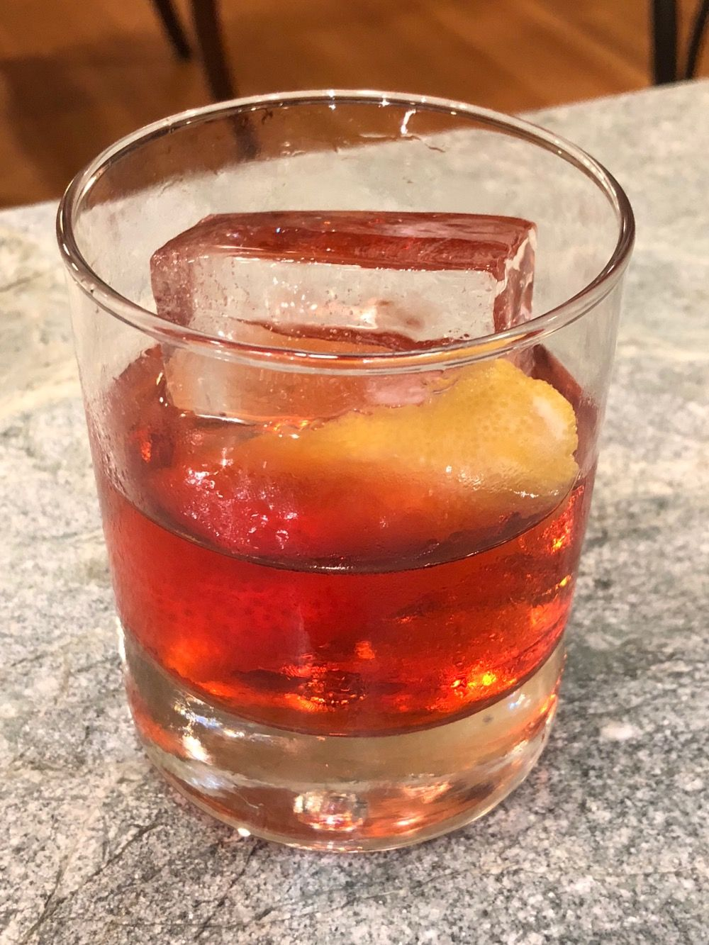 Negroni with sherry vermouth and hand-cut ice.